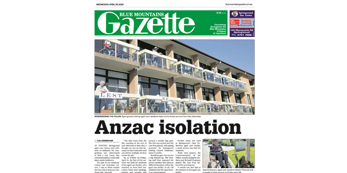 Cover of 25 April edition of the Blue Mountains Gazette; headline: Anzac isolation