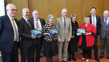 L-R: Dr John Vallance, Prof. Peter Greste, Geoff Strempel, Dr Marie-Louise Ayres, The Hon. Paul Fletcher MP, Vicki McDonald, Vanessa Little, Dr Brett Mason, The Hon. John Day